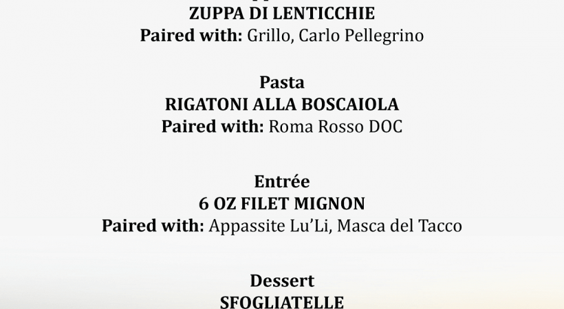 Nonna Rosa Italian Restaurant Wine Dinner Offerings